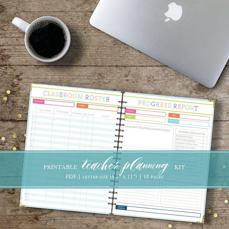 Printable Teacher Planner Kit  Includes Attendance Log Grade Sheet