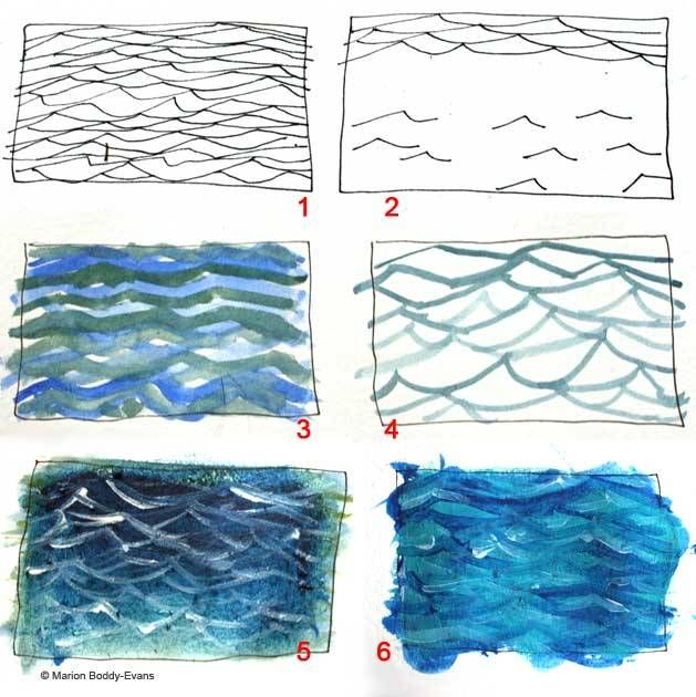 How to paint ripples in the ocean art watercolour for Painting on water tutorial