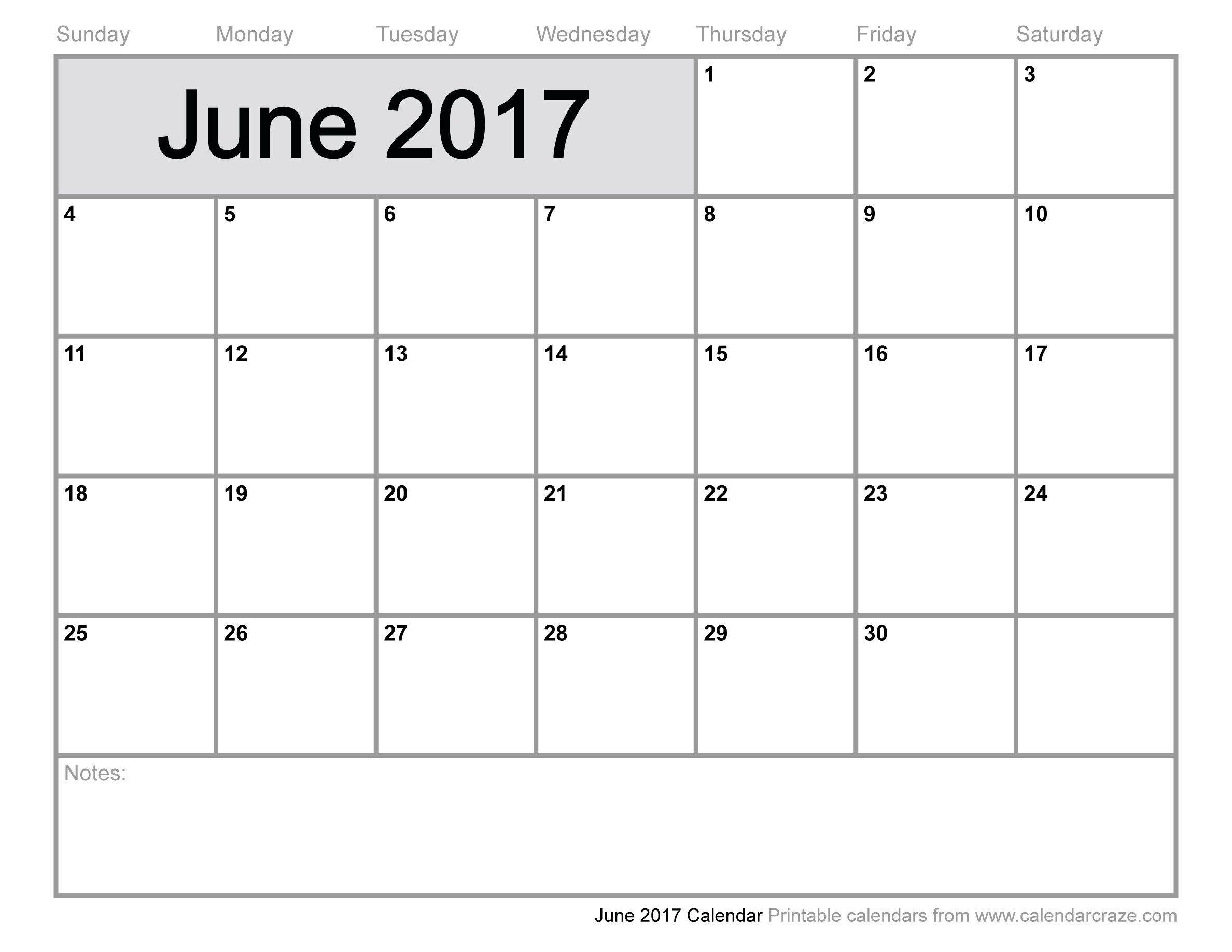 june calendar template 2017