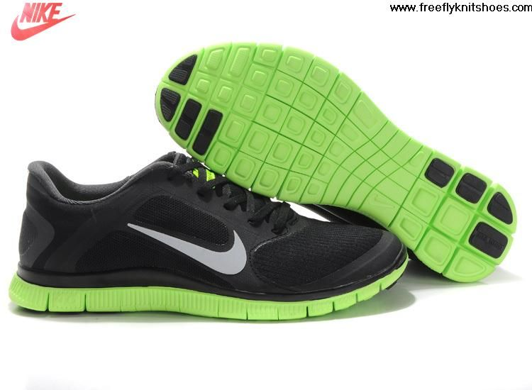 Fashion Mens Nike Free 4.0 V3 Black Green Silver Shoes Running Shoes Shop