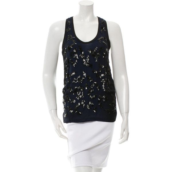 Pre-owned Stella McCartney Sleeveless Sequined Top (360 BRL) ❤ liked on Polyvore featuring tops, blue, sequin top, sleeveless tops, sleeveless tank, sequin sleeveless top and blue tank top