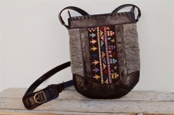 Genuine Goat Leather Embroidery Shoulder Handbag / by SaharartDouz