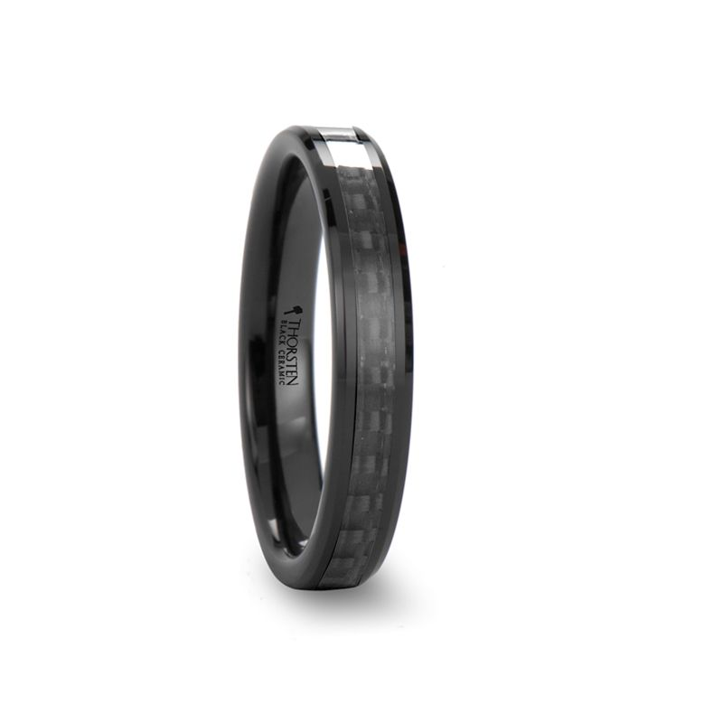 Womens Tungsten Ring Odessa Beveled Black Ceramic Ring With Black Carbon Fiber Inlay For Black Ceramic Ring Womens Tungsten Rings Carbon Fiber Wedding Bands