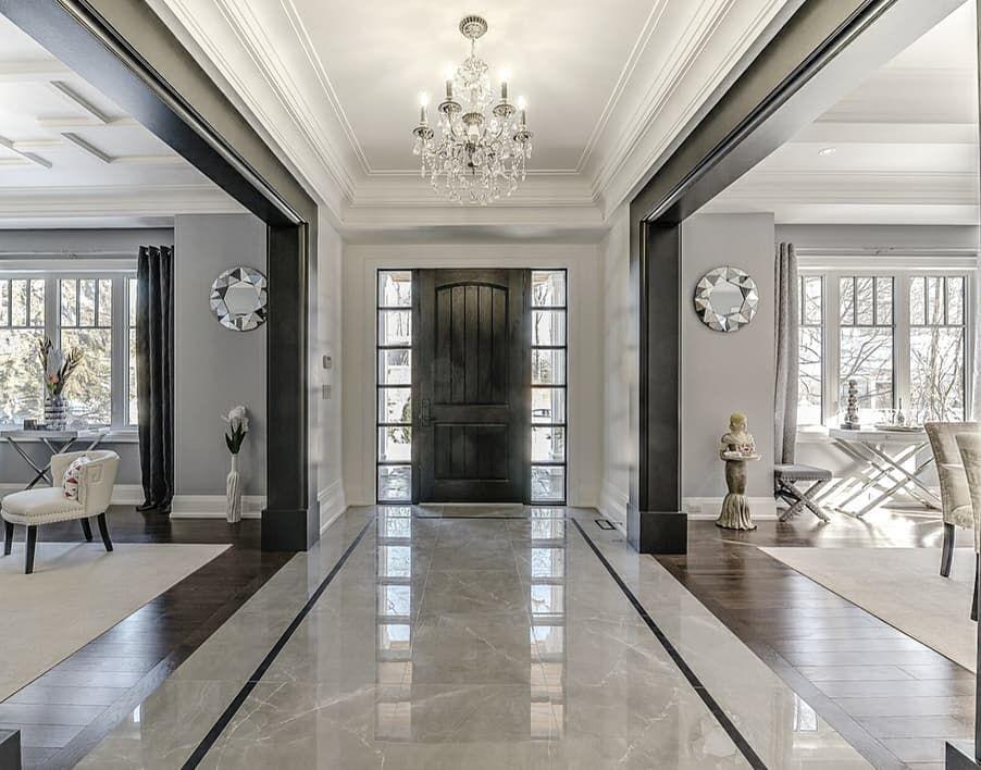 Mix Of White And Black Dark Trim 1 749 Likes 16 Comments Grace R Lovefordesigns On Instagram Stunning Ent Foyer Design Home Room Design House Design