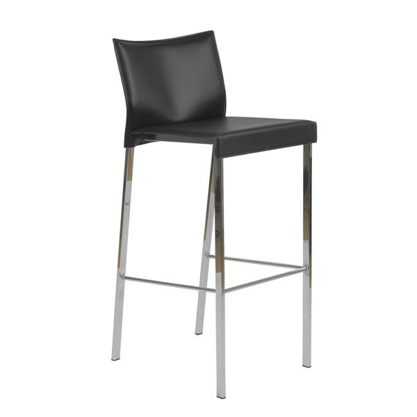 Brilliant Euro Style Riley B Bar Stool In Black Leather Chrome Set Of Gmtry Best Dining Table And Chair Ideas Images Gmtryco