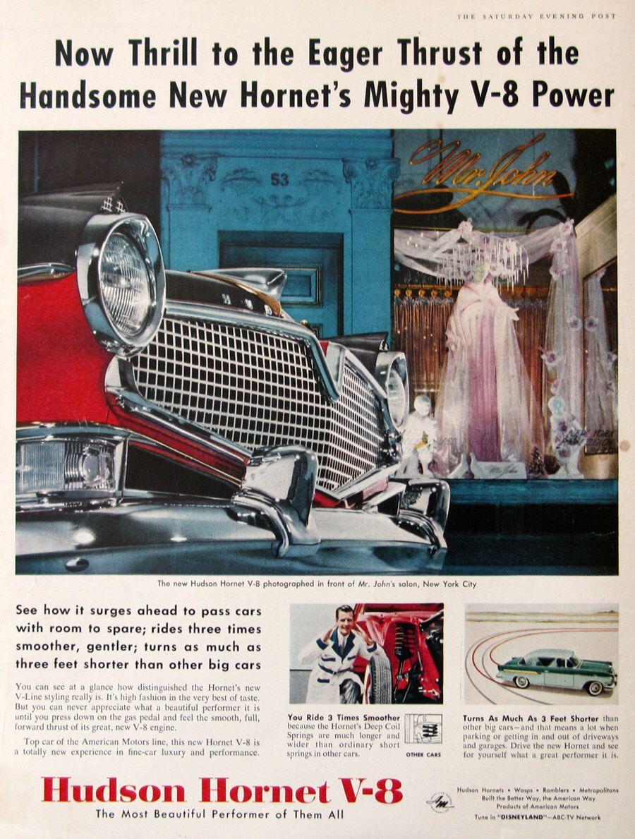 1956 Hudson Hornet V 8 Car Ad Retro 1950s Culture Wall Art Etsy