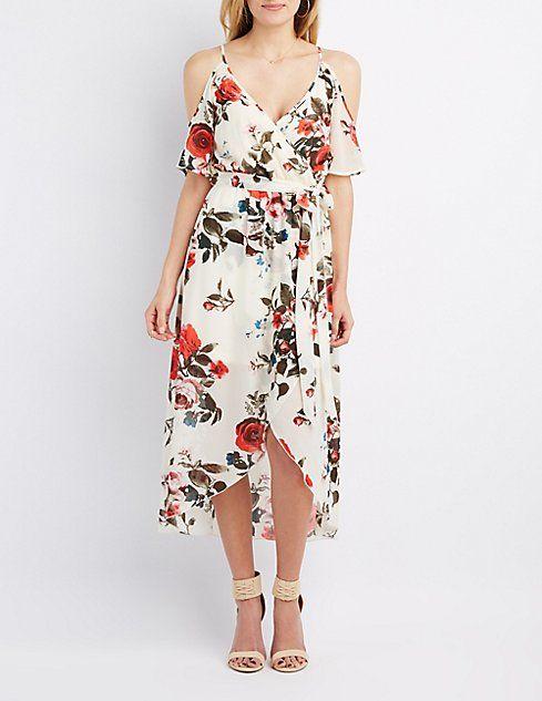 95f1f90639e4a Floral Cold Shoulder Maxi Wrap Dress | W E A R | Trendy dresses ...
