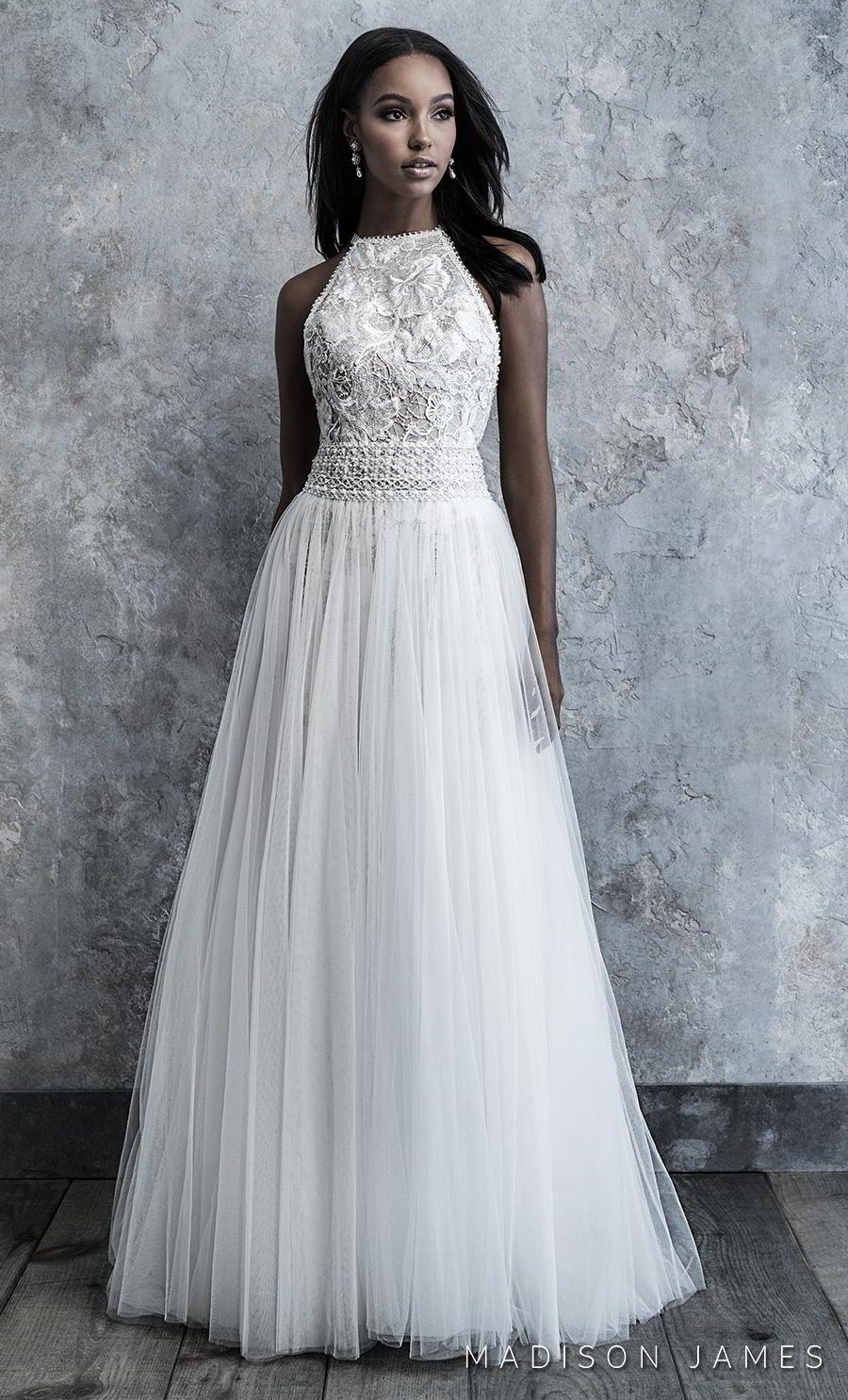 Madison James 2019 bridal sleeveless halter neck heavily embellished bodice pleated skirt romantic soft a  line wedding dress keyhole back chapel
