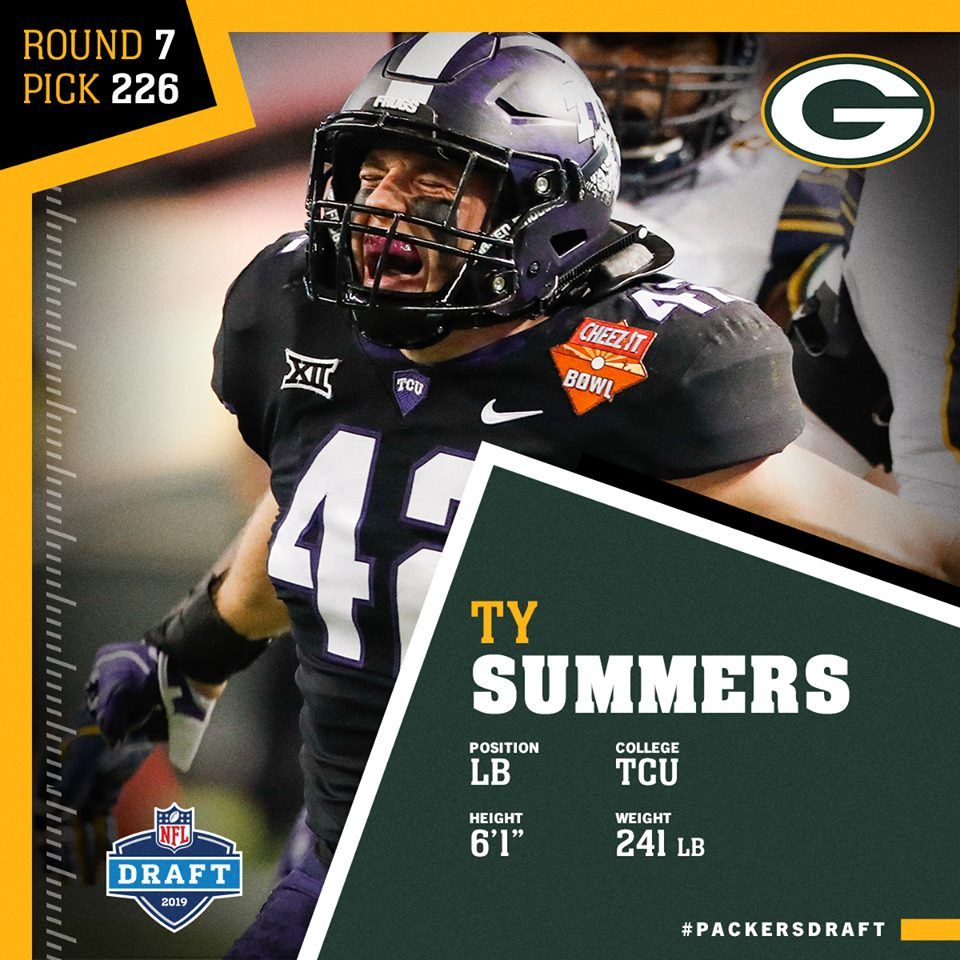 Lb Ty Summers Welcome To The Packers Nfl Nfl Scouting Combine Packers