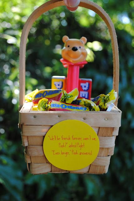 """Pooh party favors. """"We'll be friends forever, won't we, Pooh?"""" asked Piglet. """"Even longer,"""" Pooh answered."""