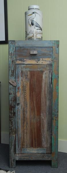 Narrow Distressed Reclaimed Teak Wood Cabinet   Cabinets   Shop Nectar