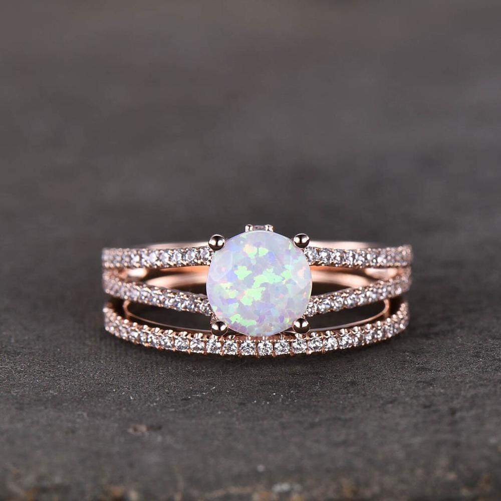 Vintage Opal Engagement Ring Split Shank Set,Pave Set