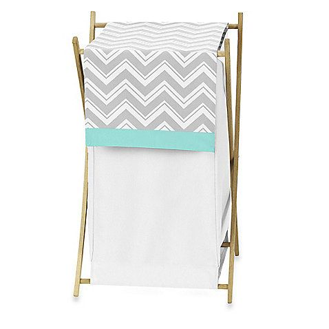 The Sweet Jojo Designs Zig Zag Laundry Hamper has a removable fabric cover that is crisp white with grey and white chevron stripes and a turquoise accent. The inner mesh liner can be easily removed to make laundry a simple task.