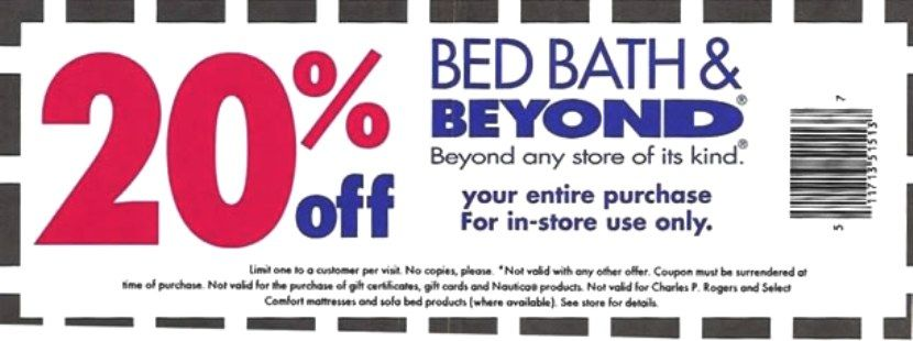Bed Bath and Beyond Coupon 20 off Online Coupons Pinterest - example of a coupon
