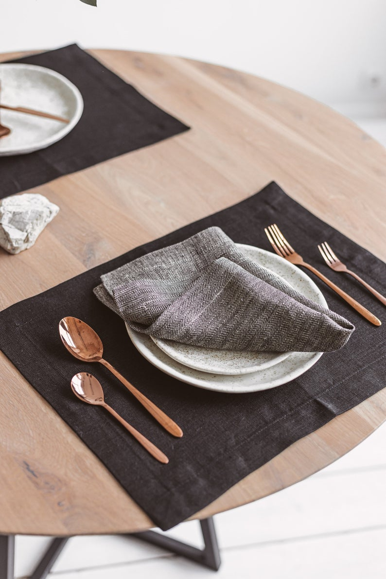Modern Black Linen Placemats For Dining Holiday Table Eco Etsy Linen Table Settings Black Linen Linen Placemats