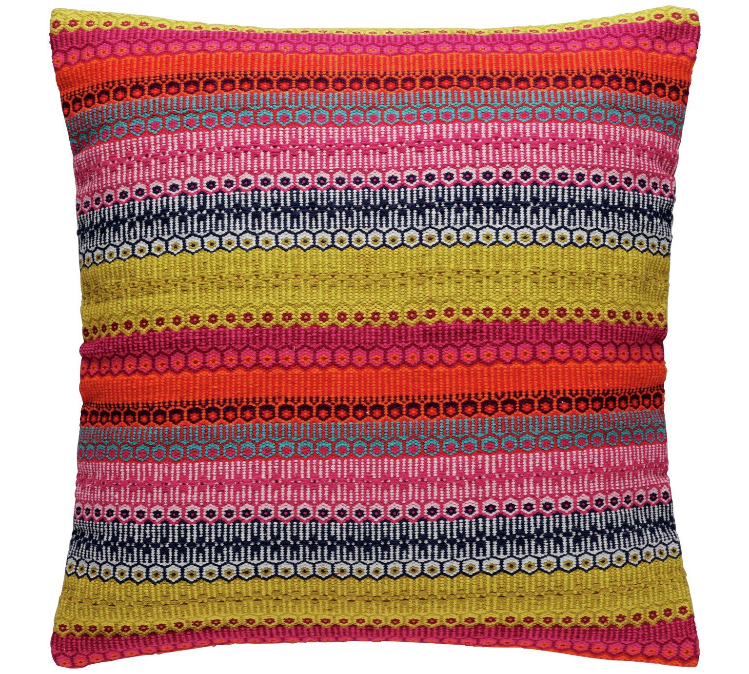 Buy Habitat Agnes Cushion 60x60cm Multicoloured Cushions Argos Multicoloured Cushions Striped Cushions Embroidered Cushions
