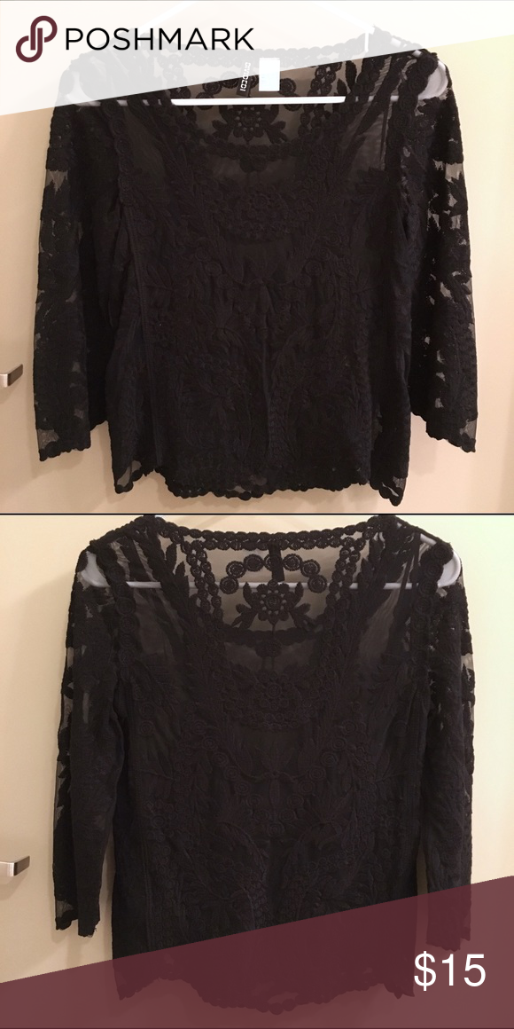6514adb111fba0 H&M Lace Top H&M black lace top with ¾ length sleeves. Super cute! Never  worn! H&M Tops