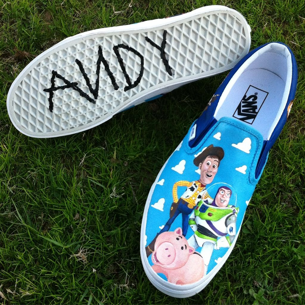 da5b15764bb23a Disney Pixar Inspired Toy Story Painted Vans Shoes Disneyland Disneyworld  Andy Woody Buzz Hamm - Shoes by PaintedSoleShoes -  instagram.com paintedsole shoes ...
