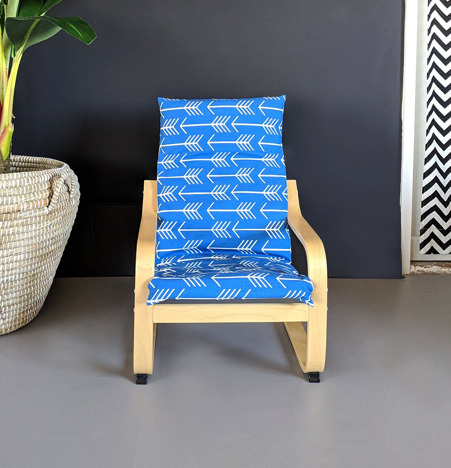Bright Blue Arrow Print Ikea Kids Poang Seat Cover Slipcovers