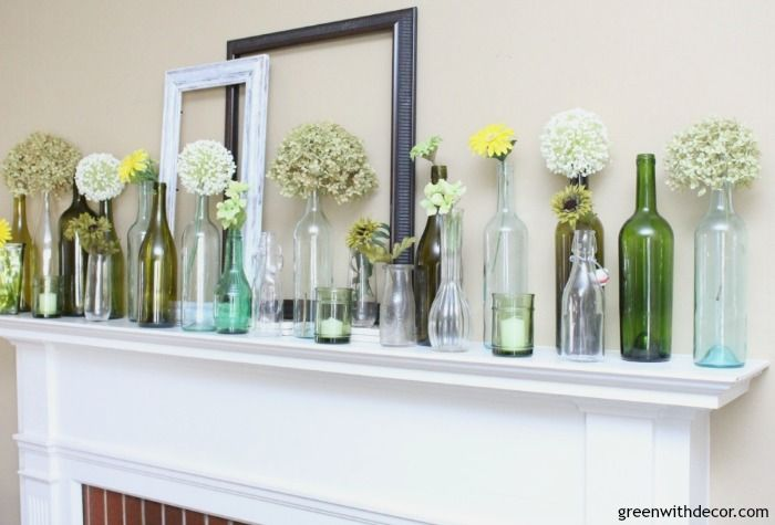An Easy Spring Mantel Decorating Idea With Wine Bottles Green With Decor Mantel Decorations Wine Bottle Decor Wine Bottles Green