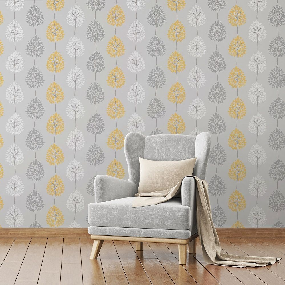 The wallpaper features a fun, tree design on a shimmering metallic