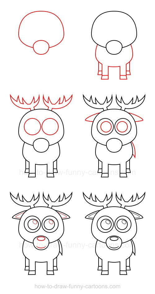 Dear, let's learn how to draw a deer that consists of a simple ...