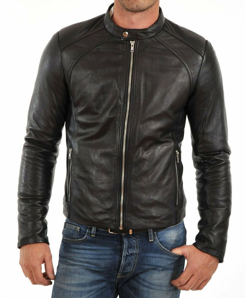 bf5c12d2dee5 New Men Quilted Leather Jacket 100% Genuine Soft Lambskin Biker Bomber -  FLO474 #fashion #clothing #shoes #accessories #mensclothing #coatsjackets  (ebay ...