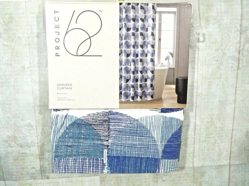Project 62 Shower Curtain Fabric Blue Circles 72 X 72 Bathroom