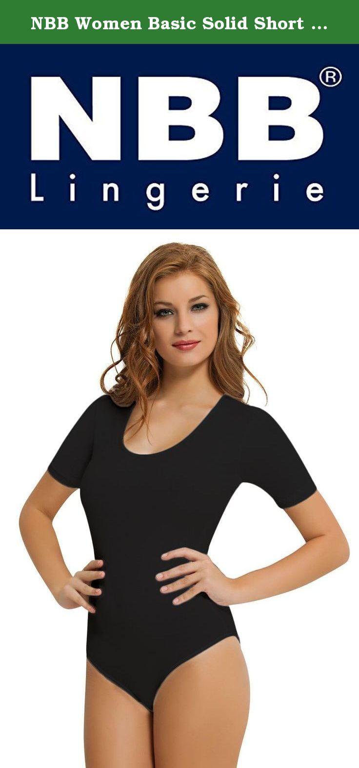 c102ce6c50 NBB Women Basic Solid Short Sleeve Scoop Neck Cotton Hipster Bodysuit  Lingerie