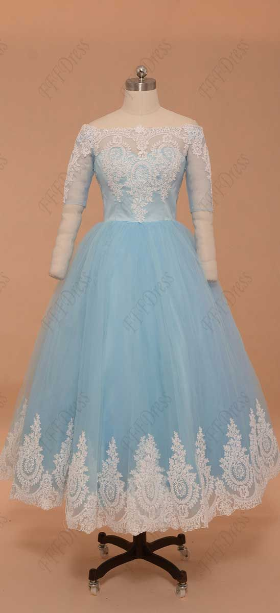 Light blue vintage prom dress tea length with sleeves homecoming ...