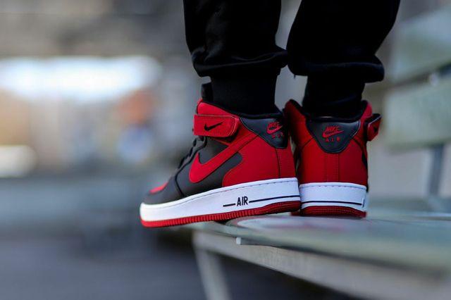 e50a5fbf600c36 NIKE AIR FORCE 1 MID (BLACK GYM RED) - Sneaker Freaker