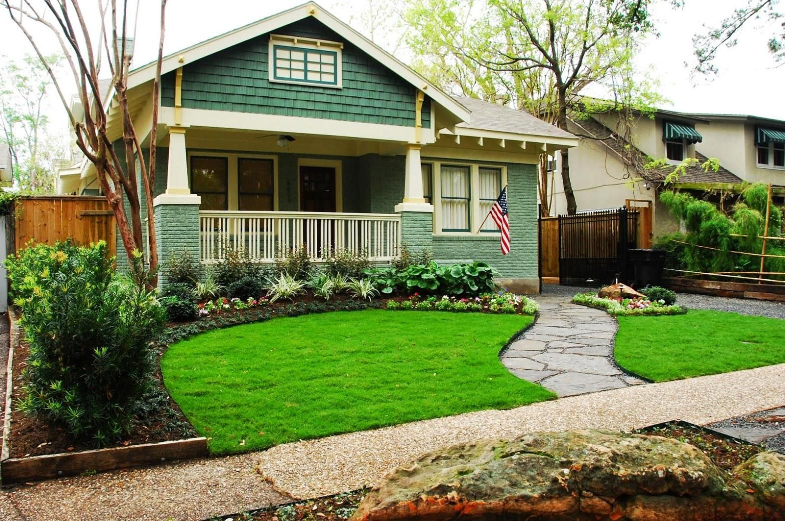 Front yard with concrete walkways concrete walkway front gardens