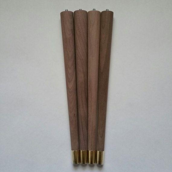 Mid century walnut table legs round tapered paul mccobb style legs mid century walnut table legs round tapered paul mccobb style legs 12 inch to 18 watchthetrailerfo