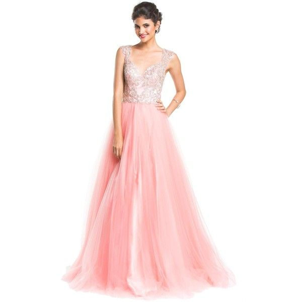 Coya Collection CL1438 Prom Dress 2016 Long V-Neck Sleeveless ($575) ❤ liked on Polyvore featuring dresses, gowns, formal dresses, pink, long evening dresses, prom gowns, pink formal gown and long prom dresses