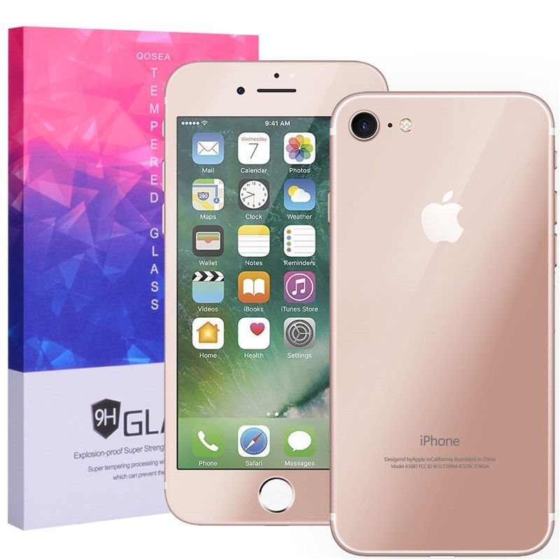 iphone 7 rose gold front. qosea for iphone 7 plus rose gold front+back mirror screen protector 9h tempered glass iphone front