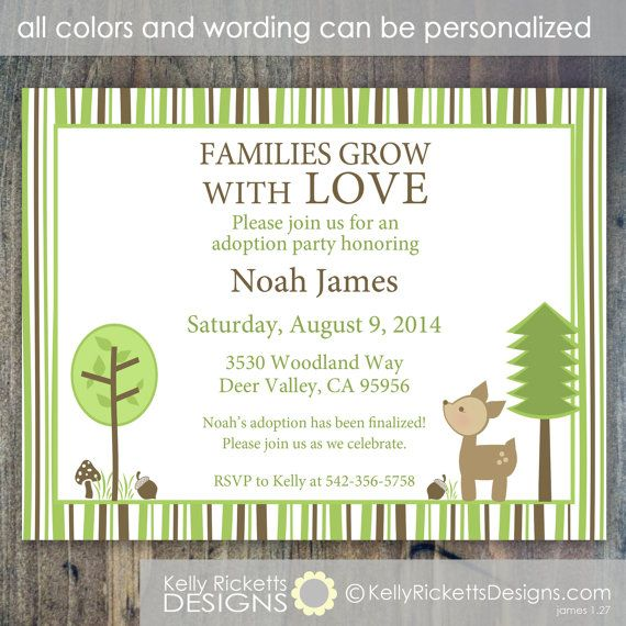 Woodland Deer Adoption Party Or Adoption Shower Invitation For