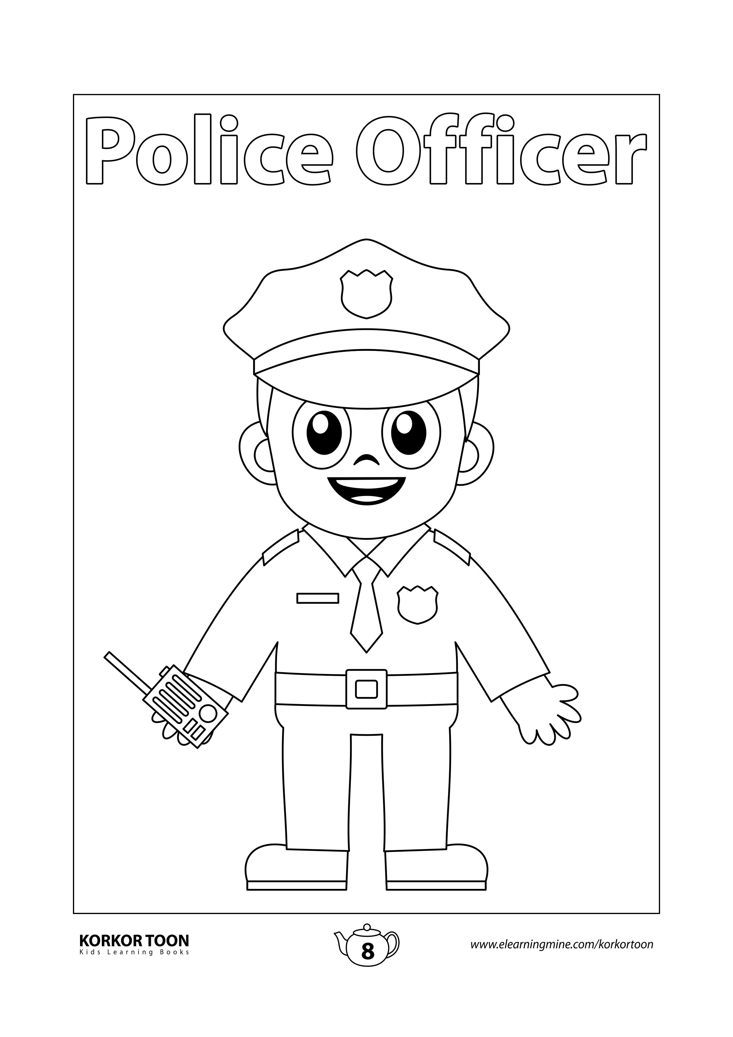 Professions Coloring Book For Kids Police Officer Page 8 In 2020 Kids Coloring Books Coloring Books Printables Free Kids