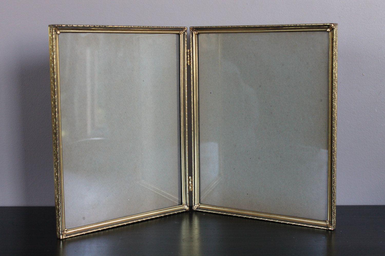 vintage art deco filigree brass double photo frame hinged book vintage art deco filigree brass double photo frame hinged book gold tone antique metal large home decor wall decor glass