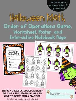 Halloween Math Order of Operations Game, Worksheet