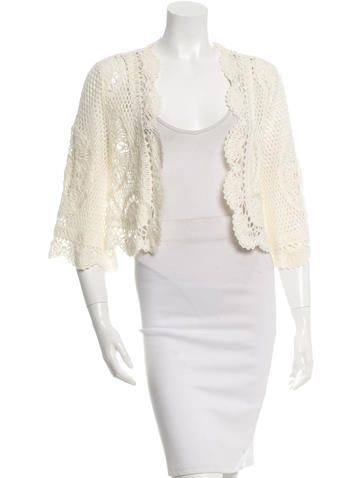 """Cream Valentino three-quarter sleeve crochet wool cardigan with open front. Color: Neutrals Size: M Condition: Very Good. Faint wear throughout. Fabric: 100% Wool Measurements: Bust 39"""", Waist 40"""", Length 18"""" Designer: Valentino"""