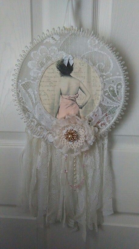 A shabby chic dream catcher that I have done using a embroidery hoop https://www.etsy.com/uk/shop/Shabbyonthecheap