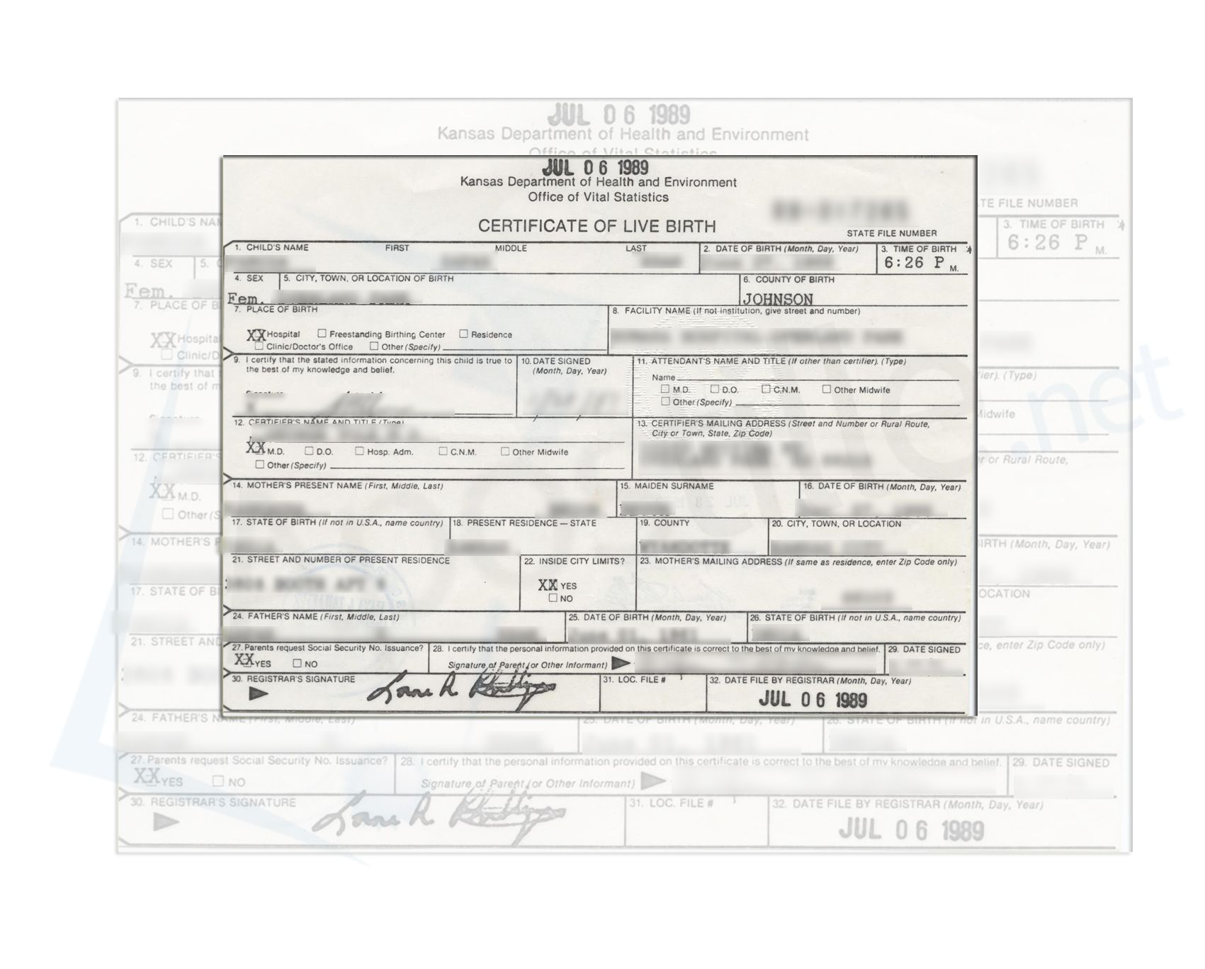 Johnson County State Of Kansas Live Birth Certificate Issued By The