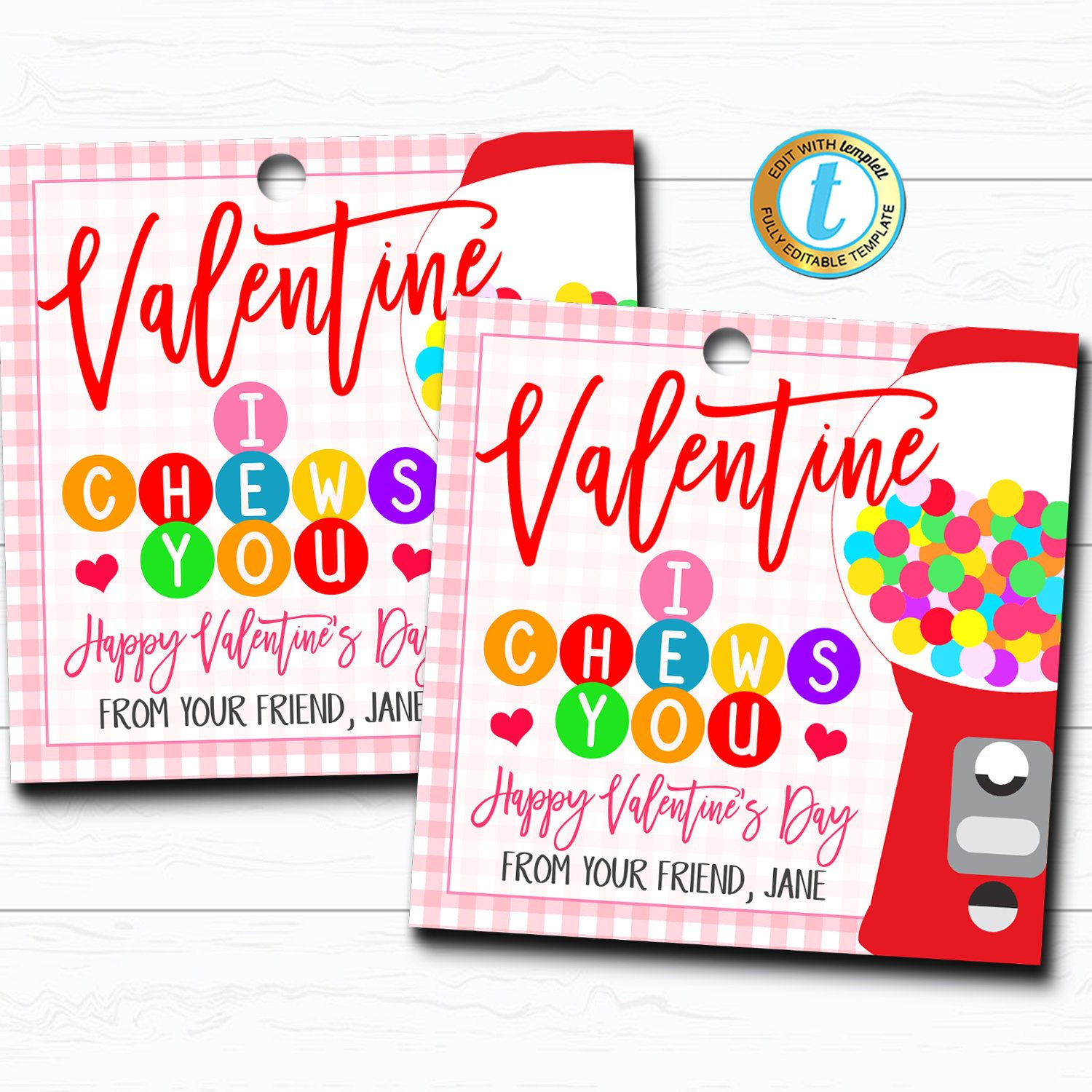 Photo of Valentine Bubble Gum Gift Tags, I Chews You Gum Candy Valentine Tag, Gift Classroom School Teacher Staff Valentine, DIY Editable Template