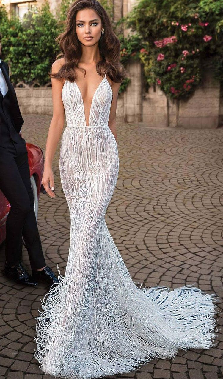 sexy Modern fit and flare wedding dress with spaghetti strap deep plunging sweetheart neckline open low back sweep train #weddingdress