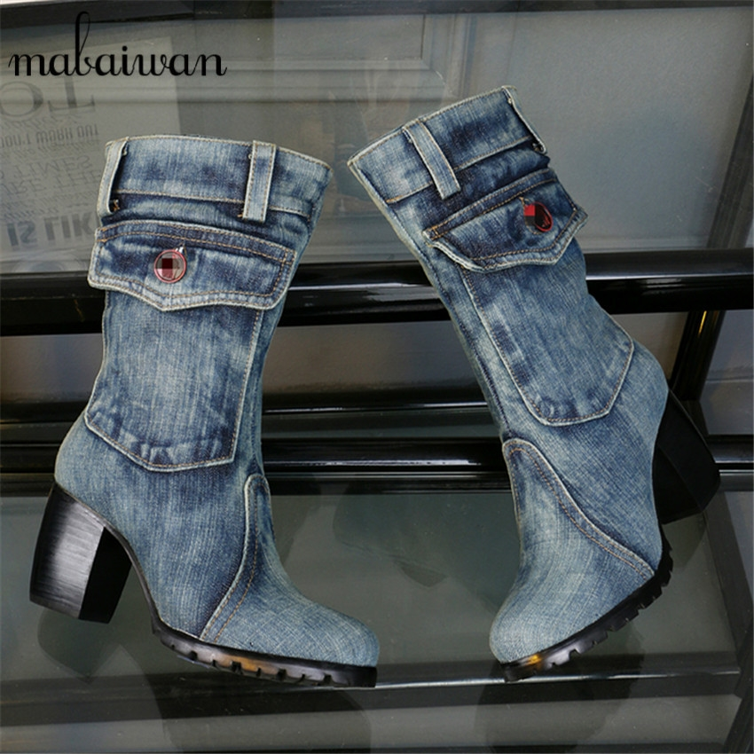 103.00$  Buy now - 2017 New Hot Pocket Design Women Denim Short Boot Thick Heel Side Zip Cowboy Botas Mujer Warm Winter Boots Plus Size 34- 42  #buymethat