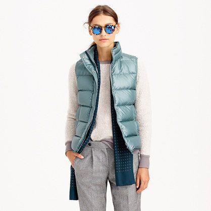 J.Crew Shiny puffer vest $138 Mode, ytterkläder kvinnor  Fashion, Outerwear women