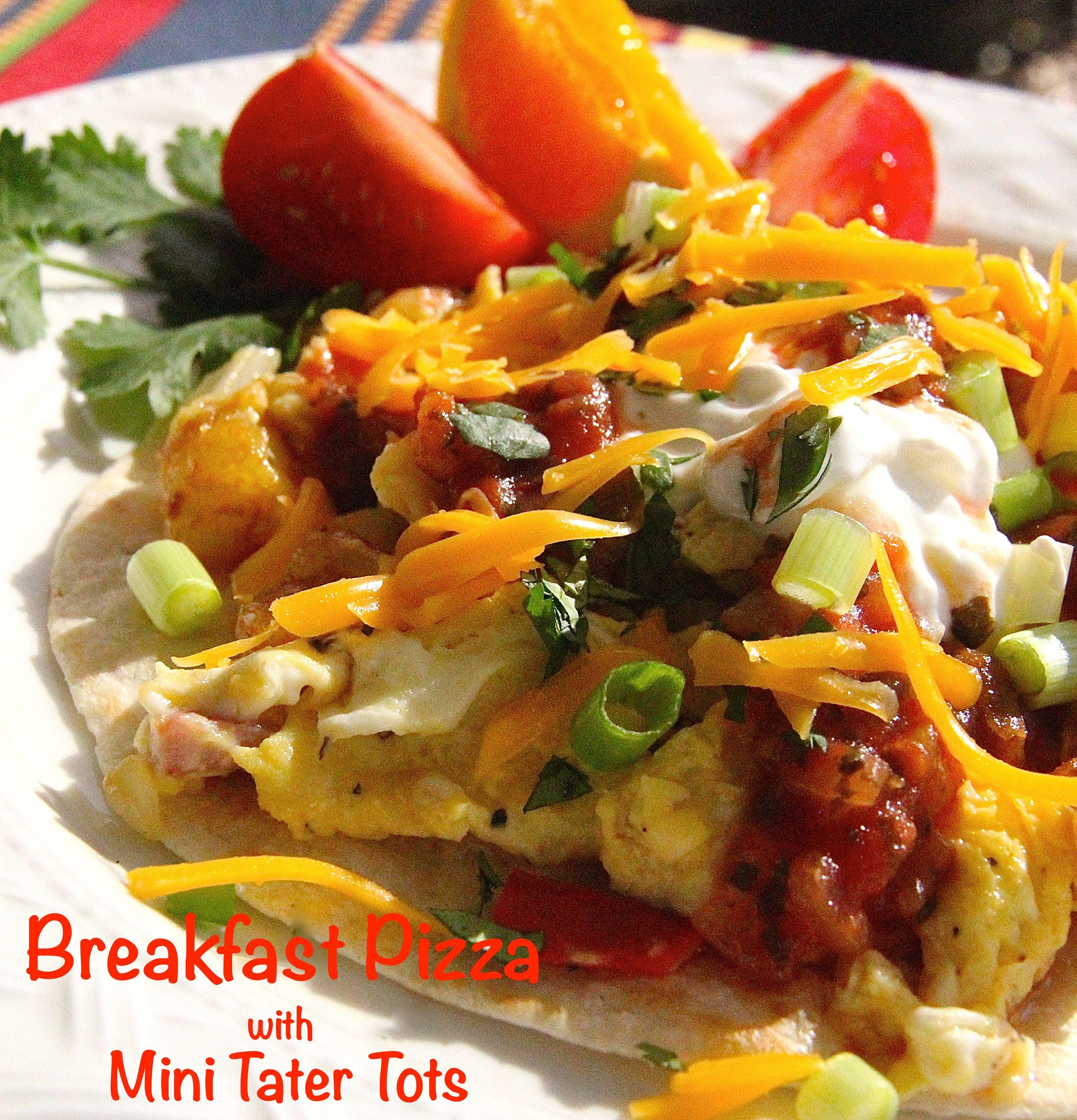 Tater Tot Breakfast Scramble: Breakfast Pizza With Mini Tater Tots Is A Fajita-sized