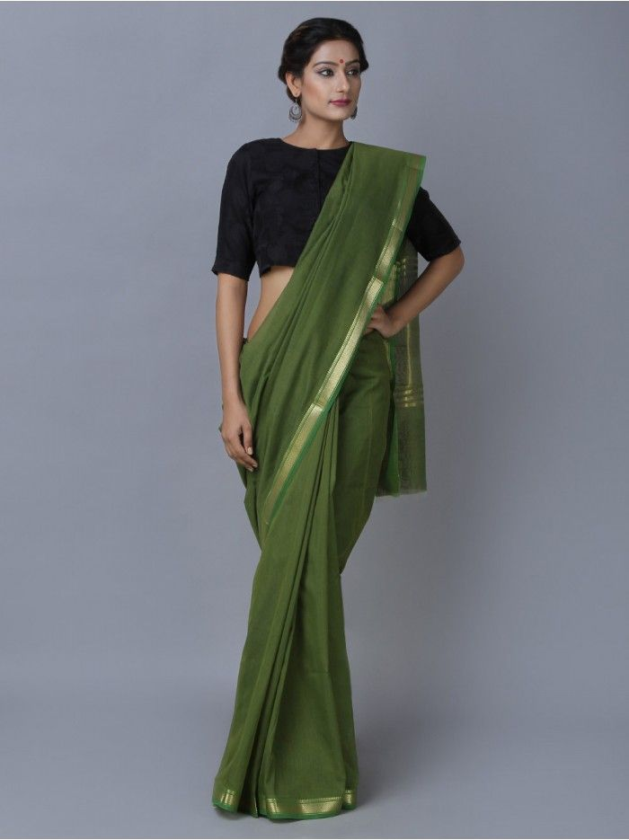 8bfb05b6b3 Green Golden Maheshwari Saree