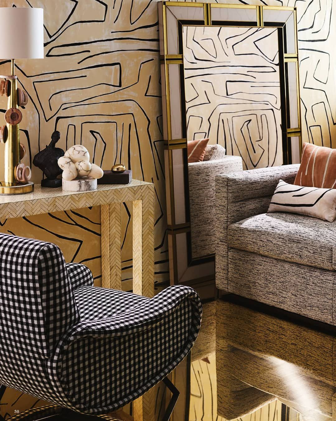Graffito wallpaper and Melrose Sofa as featured in