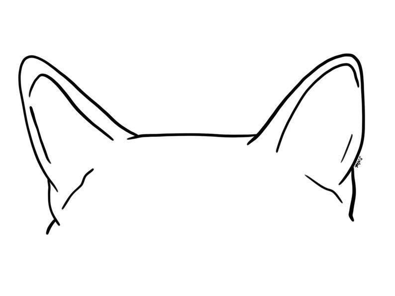 Pet Ear Outline Drawing Dog Ear Drawing Cat Ear Drawing Pet Ear Tattoo Digital Portrait In 2021 How To Draw Ears Outline Drawings Cat Ears